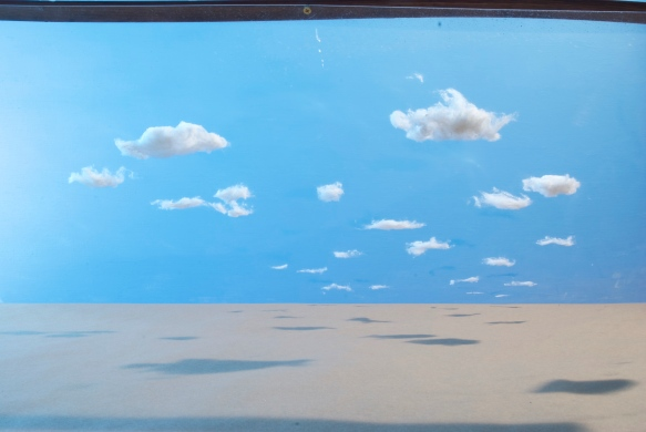 Starting out with cotton ball clouds on a sheet of plexiglass at a 45 degree angle