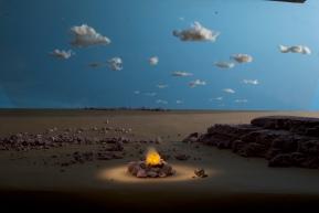 A tea light and cotton campfire