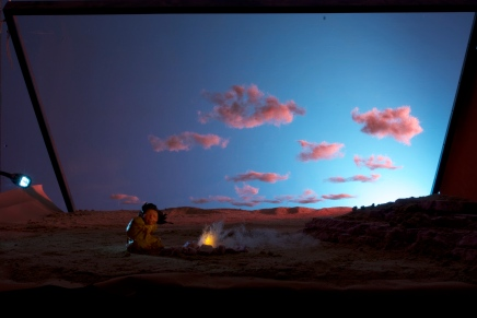 Add the figure, play with a flashlight to simulate firelight.